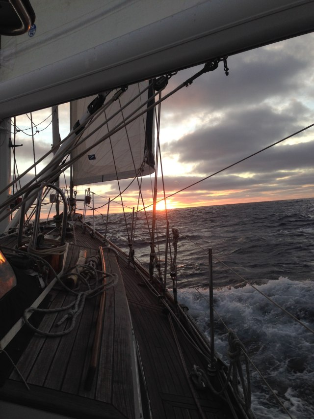 Sunset sailing from San Fran-squashed